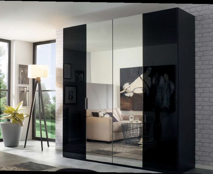 Rauch Dacao 4 Door Wardrobe in Black Glass - W 201cm