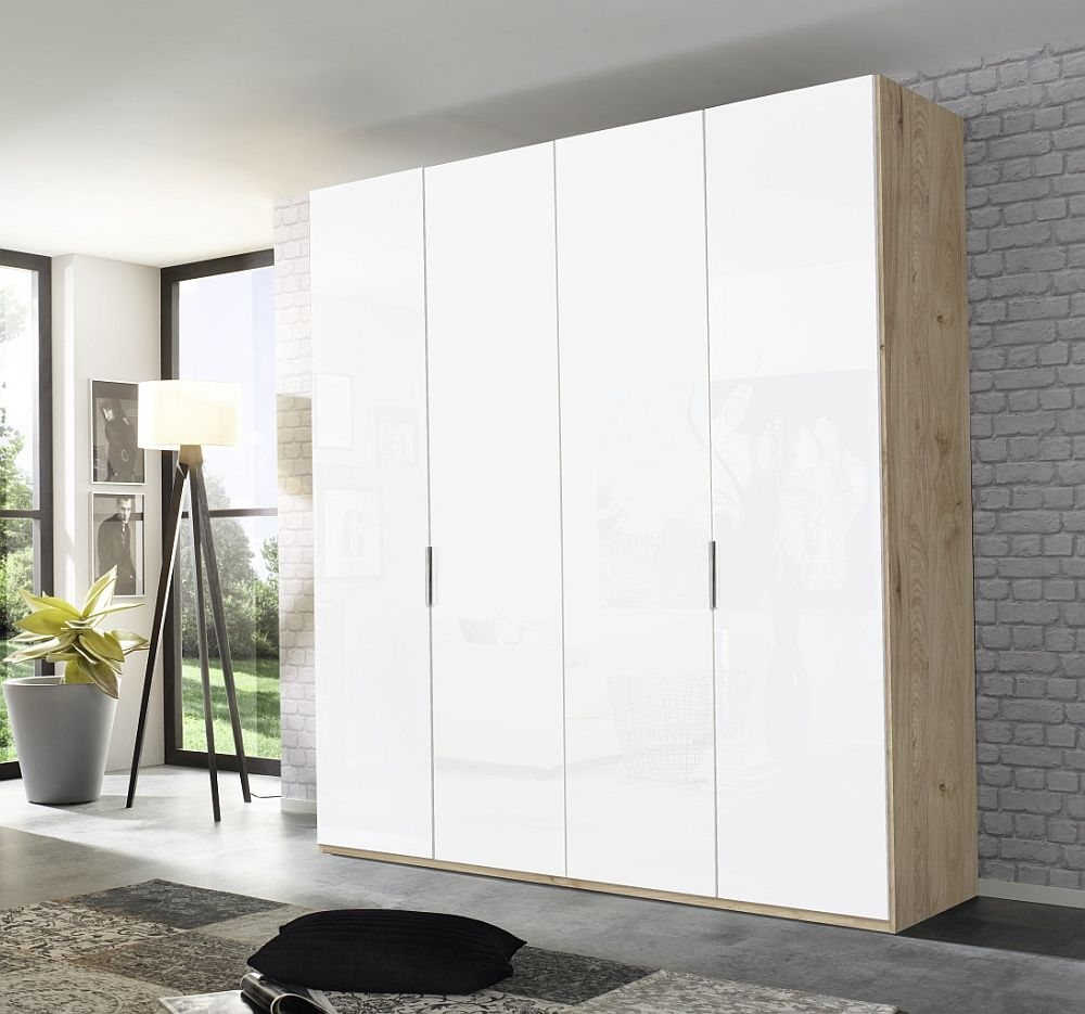 Rauch Dacao 4 Door Wardrobe in Oak and White Glass - W 201cm