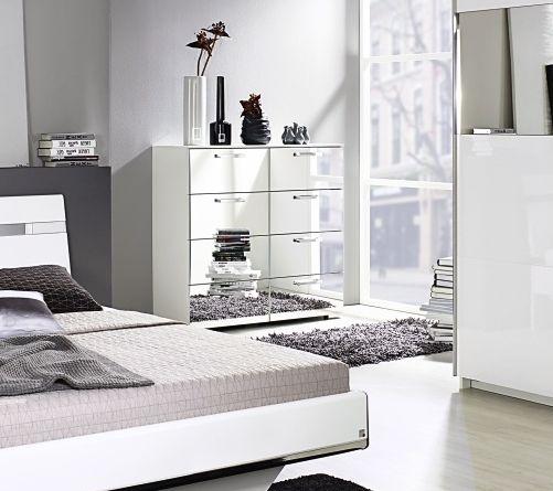 Rauch Denia 1 Door 5 Drawer Combi Chest with Mirror in Alpine White