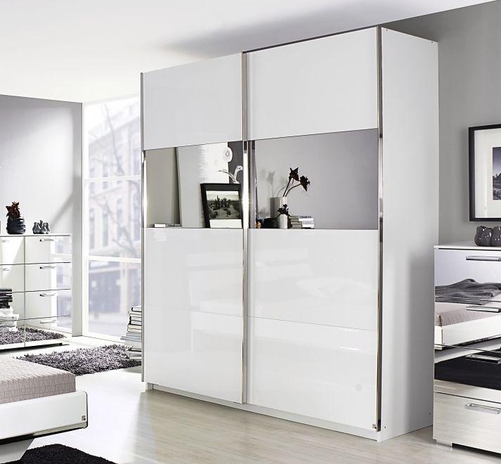 Rauch Denia 2 Door Horizontal Mirror Sliding Wardrobe in White - W 225cm