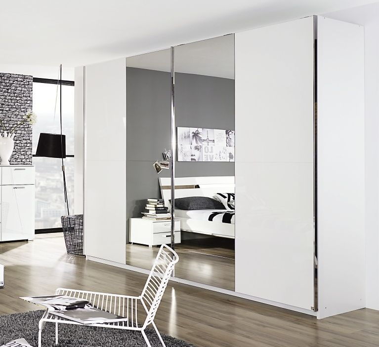 Rauch Denia Alpine White with High Gloss White 2 Door Sliding Wardrobe with Vertical Mirror - W 270cm