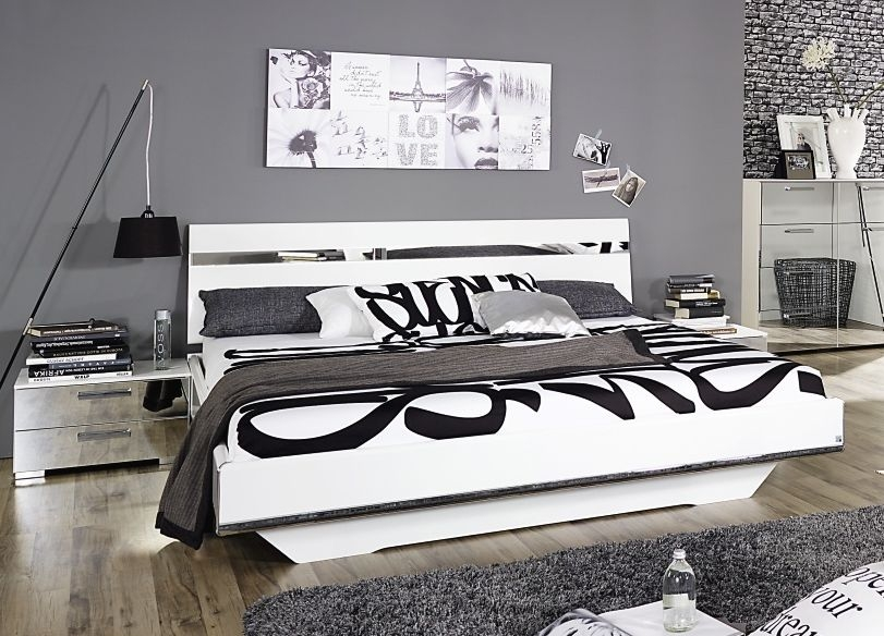 Rauch Denia 6ft Queen Size Bed with Mirror Application in High Gloss White - 180cm x 200cm