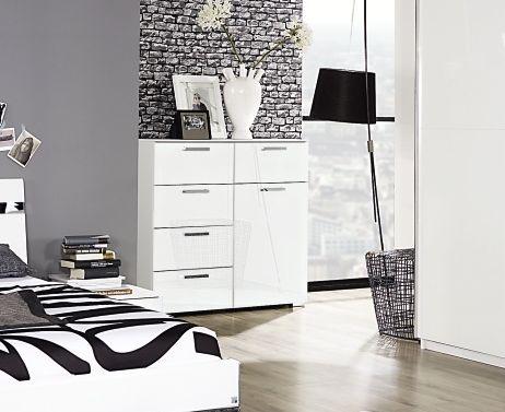 Rauch Denia 1 Door 5 Drawer Combi Chest in High Gloss White