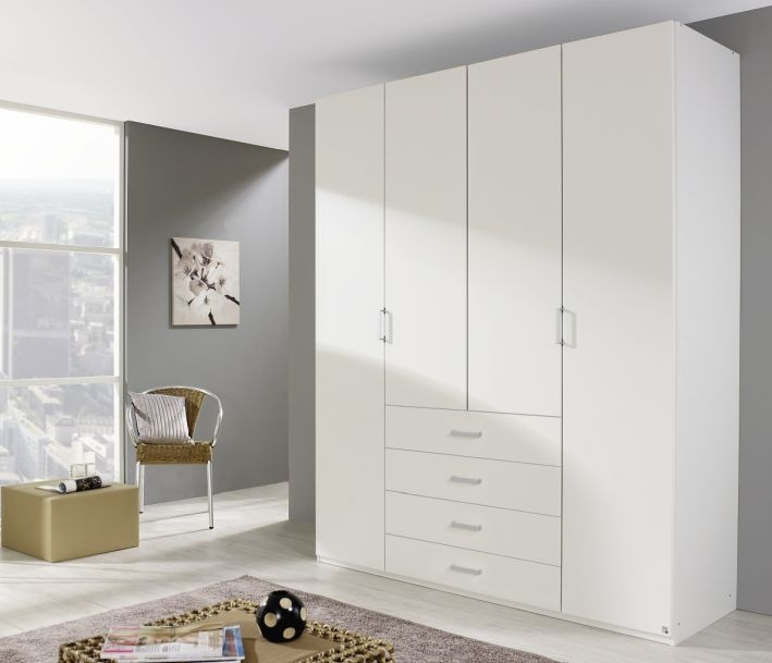 Rauch Elan A 4 Door 4 Drawer Combi Folding Wardrobe with Panorama Appearance Starter Unit in Alpine White