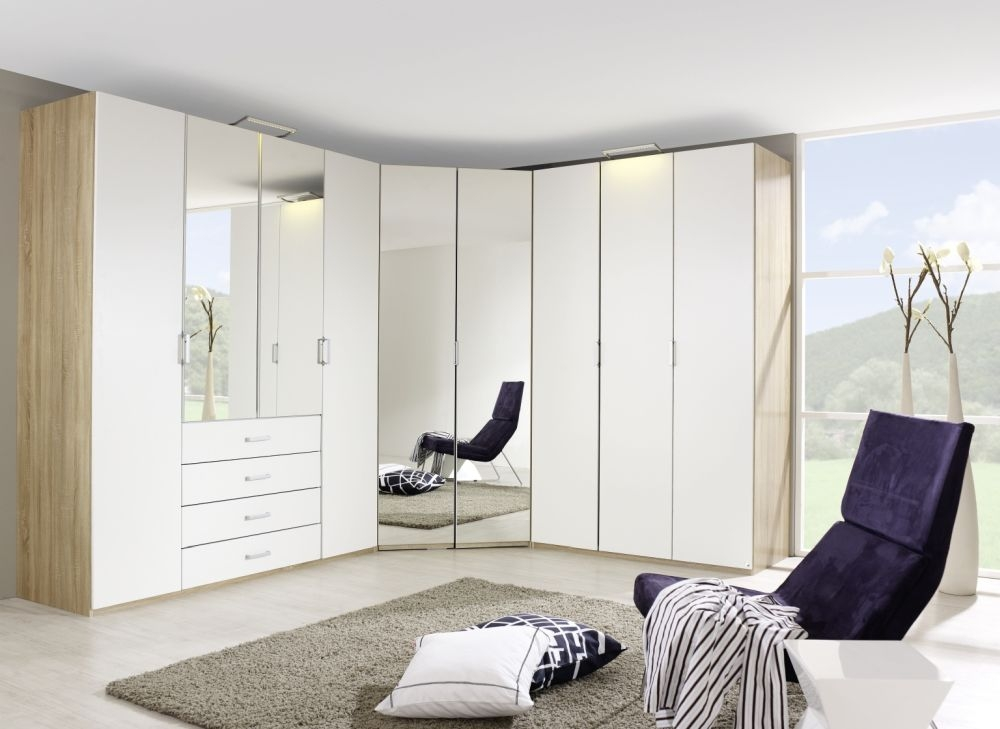 Rauch Elan A Folding Wardrobe with Mirror Front and Aluminium Short Handle - Panorama Appearance Starter Unit
