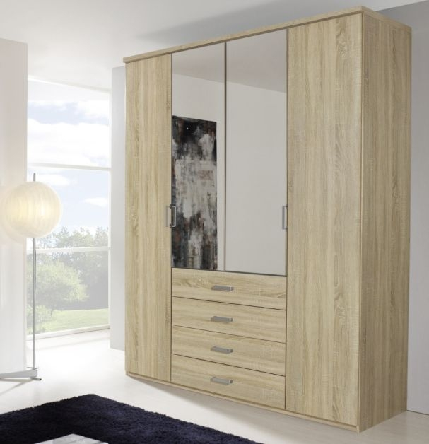 Rauch Elan A Sonoma Oak 4 Door 4 Drawer with 2 Mirror Folding Wardrobe with Panorama Appearance - Starter Unit