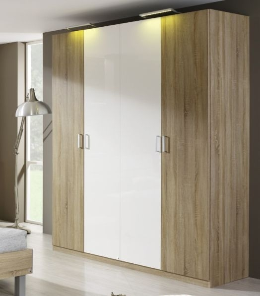 Rauch Elan A Sonoma Oak with Alpine White 4 Door Folding Wardrobe with Panorama Appearance - Starter Unit