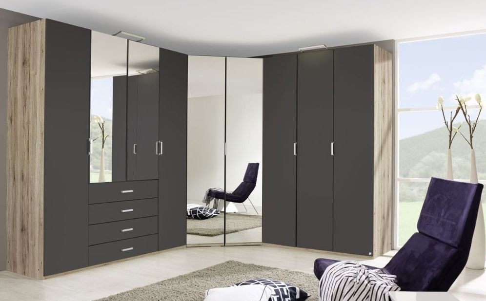 Rauch Elan A Sonoma Oak with Graphite L Shaped Folding Wardrobe with Panorama Appearance