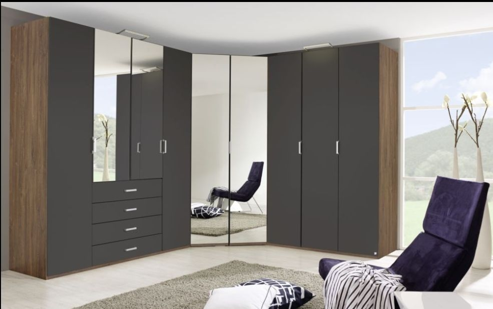 Rauch Elan A Stirling Oak with Graphite L Shaped Folding Wardrobe with Panorama Appearance
