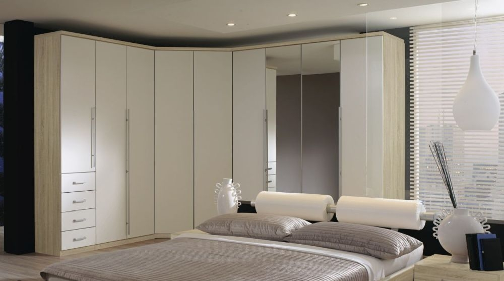 Rauch Elan B Folding Wardrobe with Color Front and Aluminium Long Handle Bar - Panorama Appearance Starter Unit