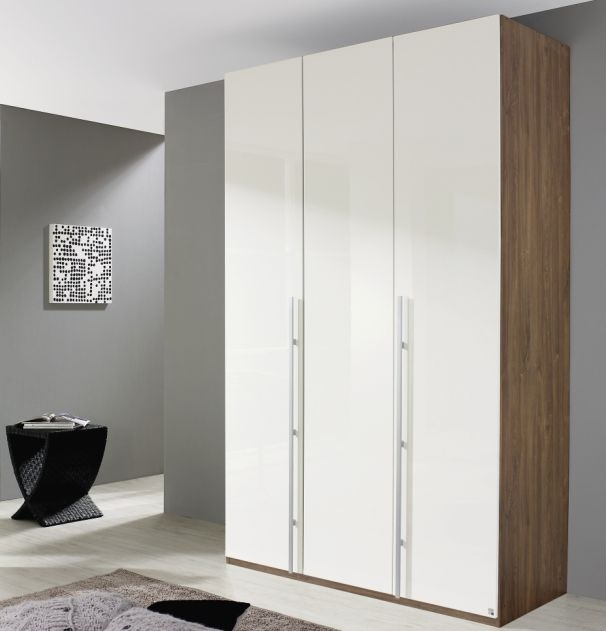 Rauch Elan B Stirling Oak with Alpine White 3 Door Hinged Wardrobe with Panorama Appearance - Starter Unit