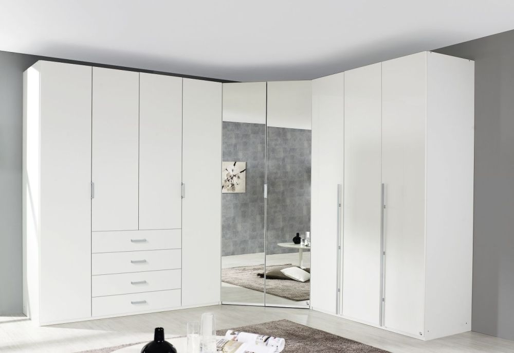 Rauch Elan B Wardrobe with Mirror Front and Aluminium Long Handle Bar - Starter Unit and Extension Unit
