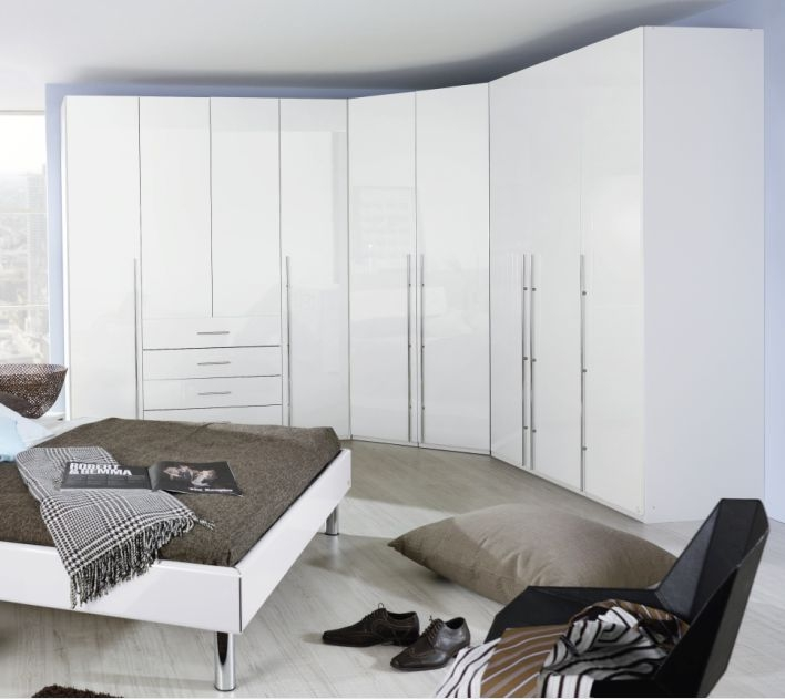 Rauch Elan C Alpine White with High Gloss White L Shaped Folding Wardrobe with Panorama Appearance