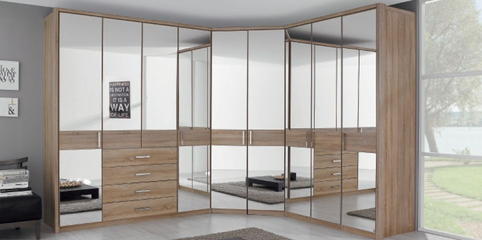 Rauch Elan D Folding Door Wardrobe - Horizontal Decor Overlay with Starter Units and Extension Units