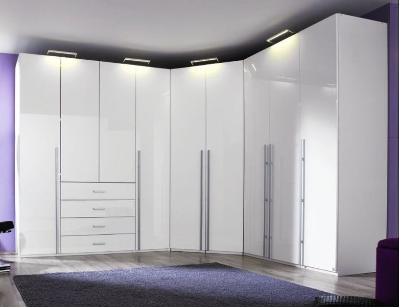 Rauch Elan H 9 Door 4 Drawer L Shaped Folding Wardrobe with Panorama Appearance in White