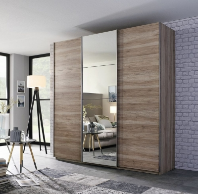 Rauch Elaya 3 Door Sliding Wardrobe in Oak - W 203cm