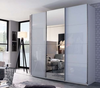 Rauch Elaya 3 Door Sliding Wardrobe in Silk Grey Glass - W 203cm