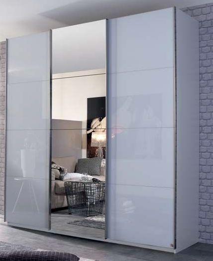Rauch Elaya 3 Door 1 Mirror Sliding Wardrobe in Alpine White and White Glass - W 203cm