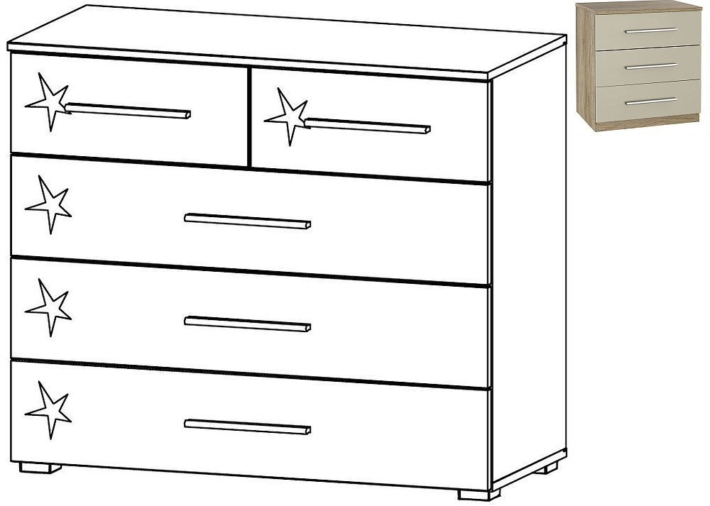 Rauch Elegant4you 2+3 Drawer Chest in Sanremo Oak and High Gloss Sand Grey
