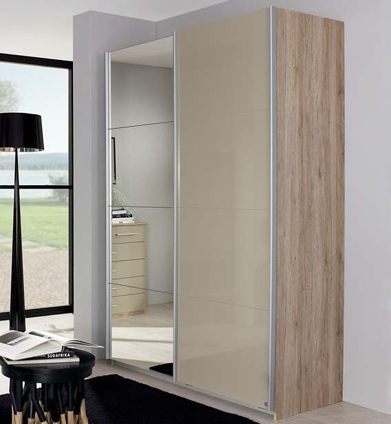 Rauch Elegant4you 2 Door Mirror Sliding Wardrobe in Oak and High Gloss Sand Grey - W 136cm
