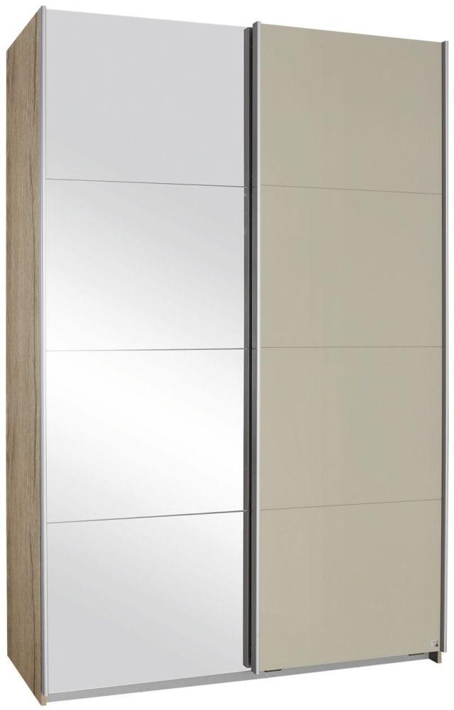Rauch Elegant4you 2 Door Sliding Wardrobe in Sanremo Oak and High Gloss Sand Grey - W 136cm