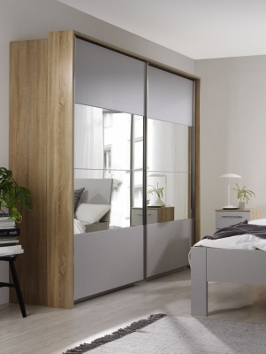 Rauch Ellesse 2 Door Sliding Wardrobe in Sonoma Oak and Alpine White - W 136cm
