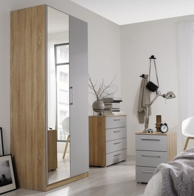 Rauch Ellesse 2 Door Wardrobe in Sonoma Oak and Alpine White - W 91cm