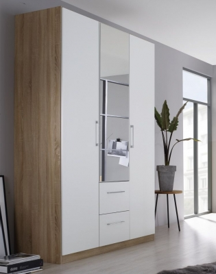 Rauch Ellesse 3 Door 2 Drawer Combi Wardrobe in Sonoma Oak and Alpine White - W 136cm