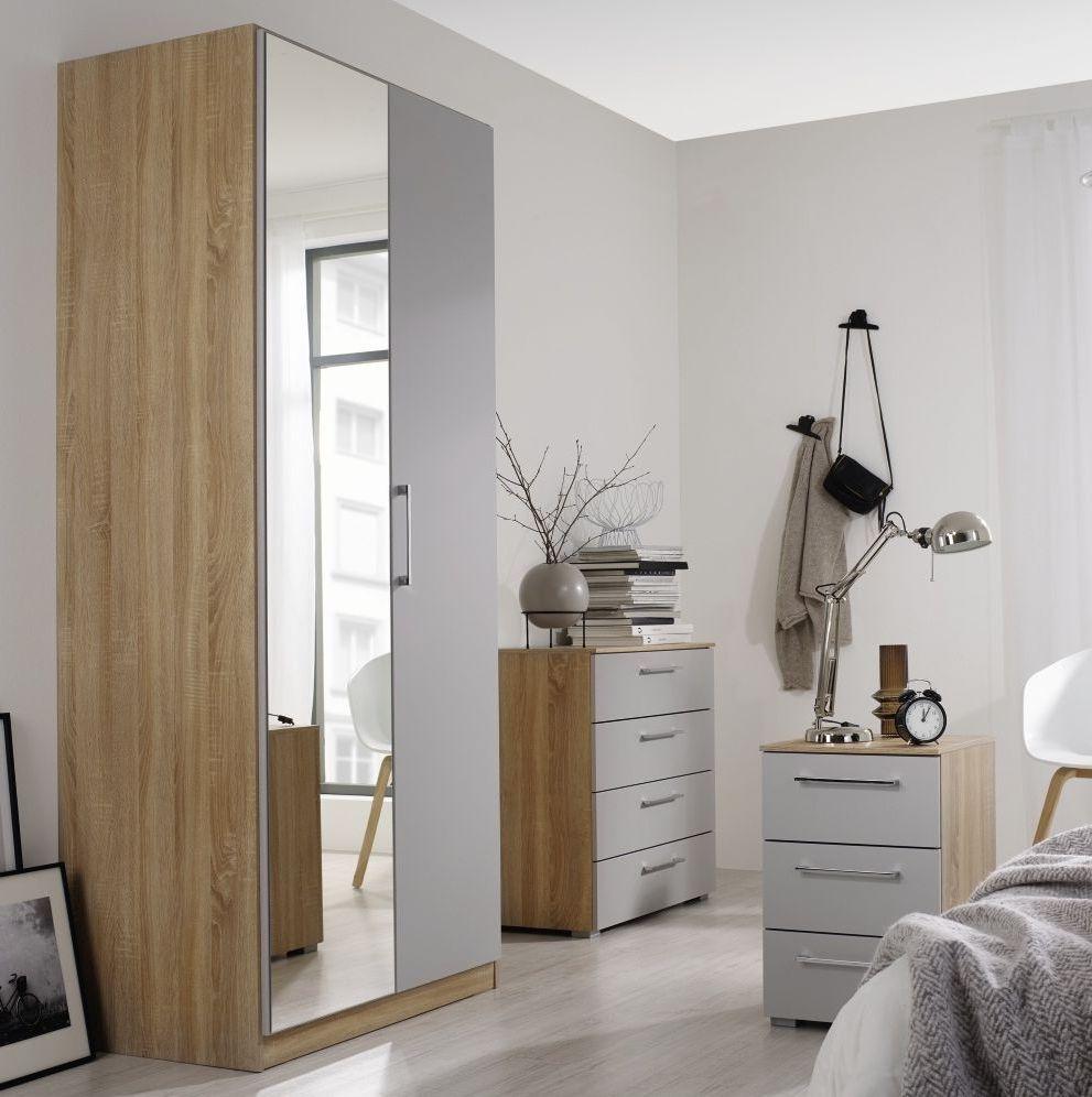 Rauch Ellesse 2 Door Wardrobe in Sonoma Oak and Alpine White - W 91cm