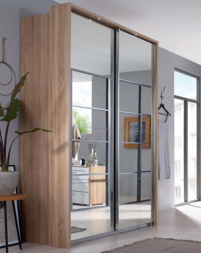 Rauch Ellesse 2 Mirror Door Sliding Wardrobe in Sonoma Oak - W 136cm