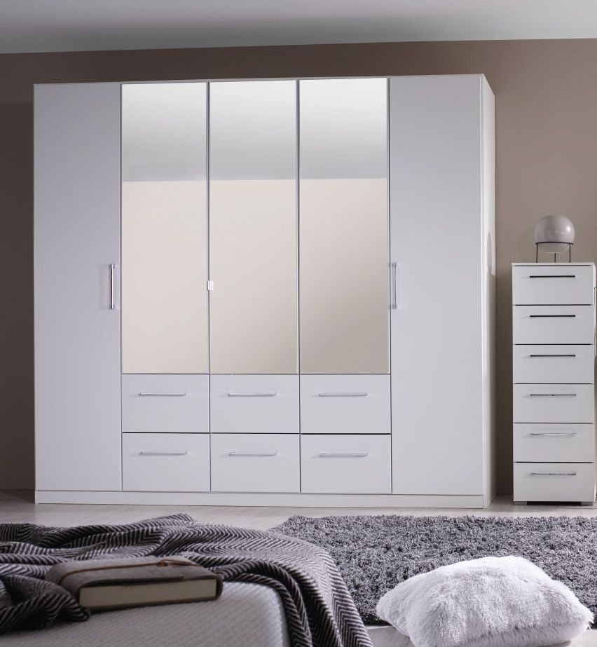 Rauch Ellesse 5 Door 6 Drawer Combi Wardrobe in Alpine White - W 136cm