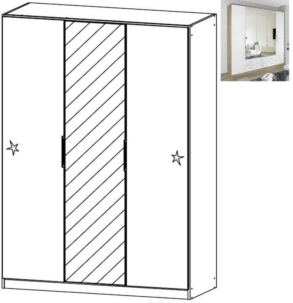 Rauch Ellwangen 3 Door 1 Mirror Folding Wardrobe with Cornice in Sanremo Oak Light and High Gloss White - W 136cm H 212cm