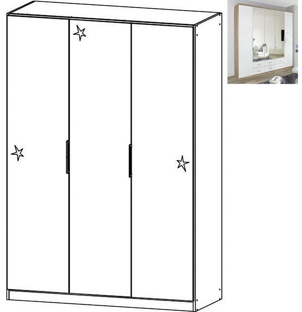 Rauch Ellwangen 3 Door Folding Wardrobe with Cornice in Sanremo Oak Light and High Gloss White - W 136cm H 212cm
