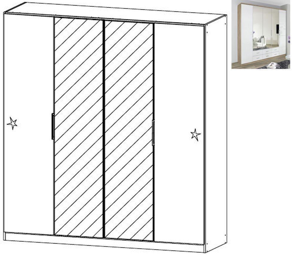 Rauch Ellwangen 4 Door 2 Mirror Folding Wardrobe with Cornice in Sanremo Oak Light and High Gloss White - W 181cm H 199cm
