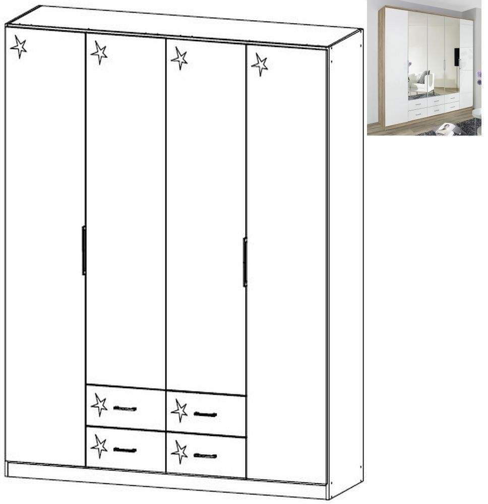Rauch Ellwangen 4 Door 4 Drawer Folding Wardrobe with Cornice in Sanremo Oak Light and High Gloss White - W 181cm H 199cm
