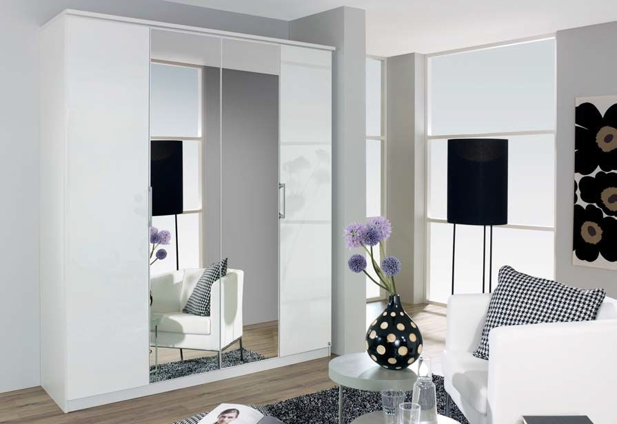 Rauch Ellwangen 4 Door Mirror Folding Wardrobe in White - W 181cm