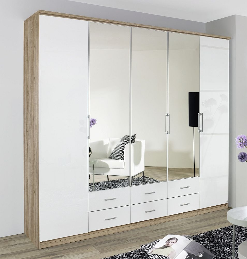 Rauch Ellwangen 5 Door 3 Mirror 6 Drawers Folding Wardrobe with Cornice in Sanremo Oak Light and High Gloss White - W 226cm H 199cm