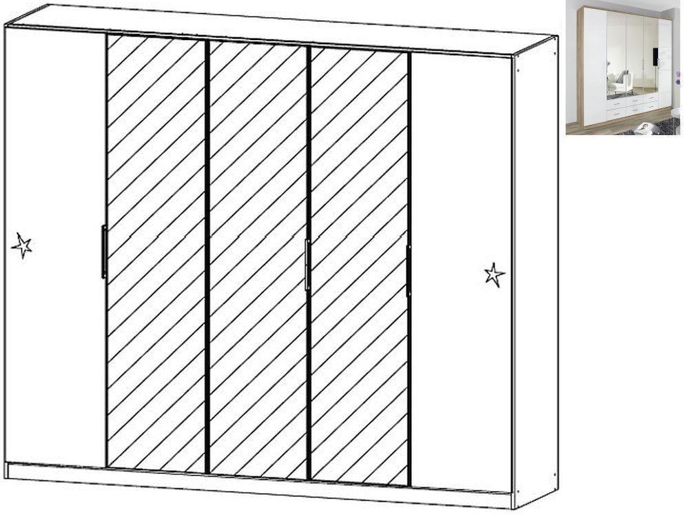 Rauch Ellwangen 5 Door 3 Mirror Folding Wardrobe with Cornice in Sanremo Oak Light and High Gloss White - W 226cm H 199cm