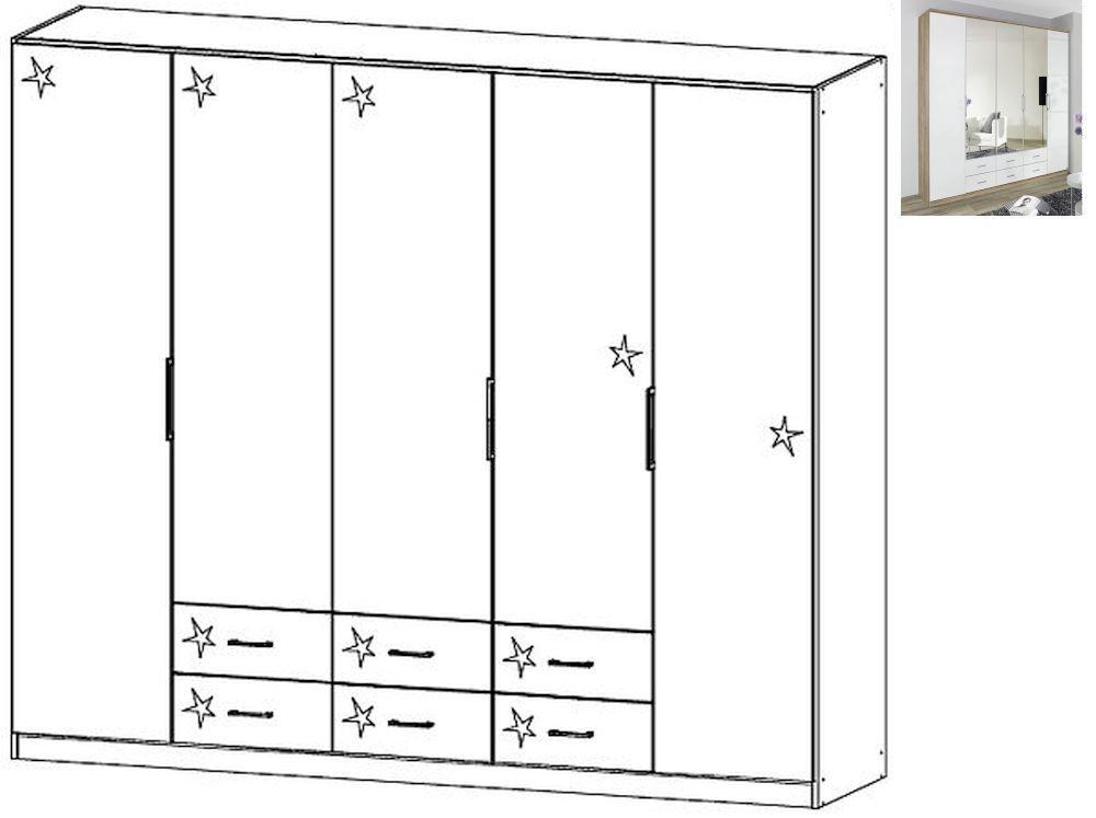 Rauch Ellwangen 5 Door 6 Drawers Folding Wardrobe with Cornice in Sanremo Oak Light and High Gloss White - W 226cm H 199cm