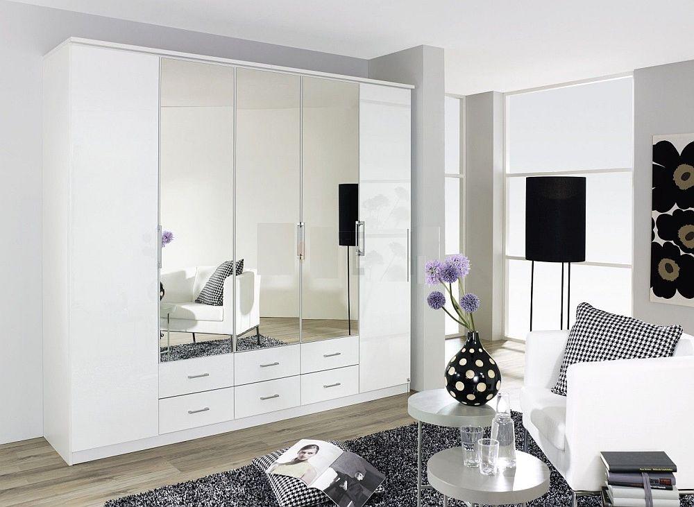 Rauch Ellwangen 5 Door Combi Folding Wardrobe in White - W 226cm