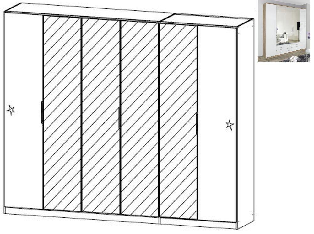 Rauch Ellwangen 6 Door 4 Mirror Folding Wardrobe with Cornice in Sanremo Oak Light and High Gloss White - W 226cm H 212cm