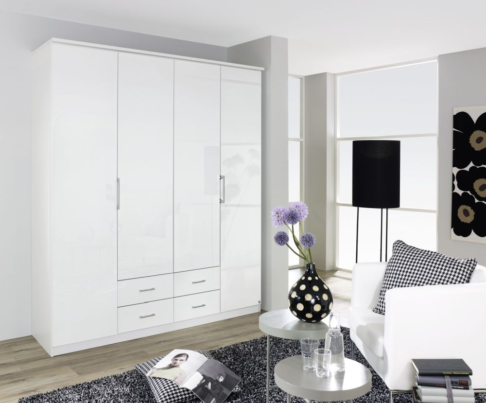 Rauch Ellwangen Alpine White with High Gloss White 4 Door Folding Wardrobe with Cornice - W 181cm H 199cm