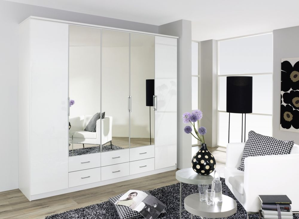 Rauch Ellwangen 5 Door 3 Mirror Folding Wardrobe with Cornice in White - W 226cm