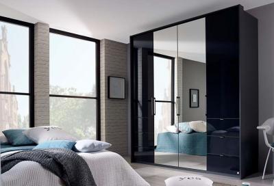 Rauch Erimo 4 Door Combi Folding Wardrobe in Graphite and Basalt Glass - W 204cm