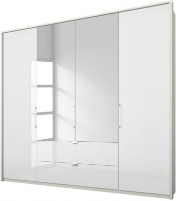 Rauch Erimo 4 Door Combi Folding Wardrobe in White Glass - W 204cm