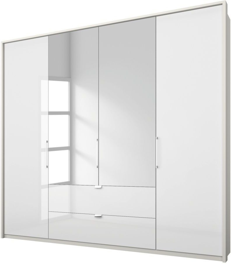 Rauch Erimo 4 Door Combi Folding Wardrobe in White Glass - W 204cm
