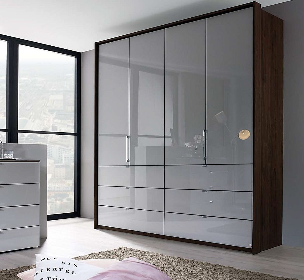 Rauch Erimo 4 Door Folding Wardrobe in Royal Walnut and Silk Grey Glass - W 204cm