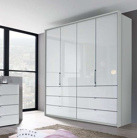 Rauch Erimo 4 Door Folding Wardrobe in White Glass - W 204cm