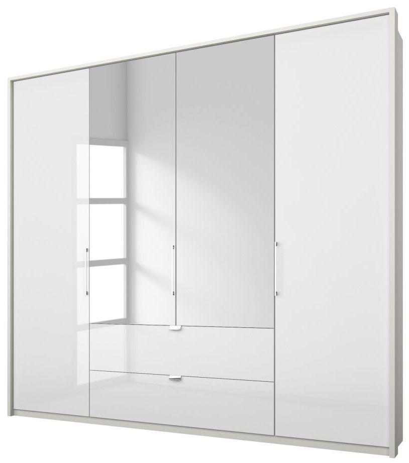 Rauch Erimo 5 Door 1 Mirror 9 Drawer Combi Folding Wardrobe in Silk Grey and White Glass with Passepartout - W 254cm