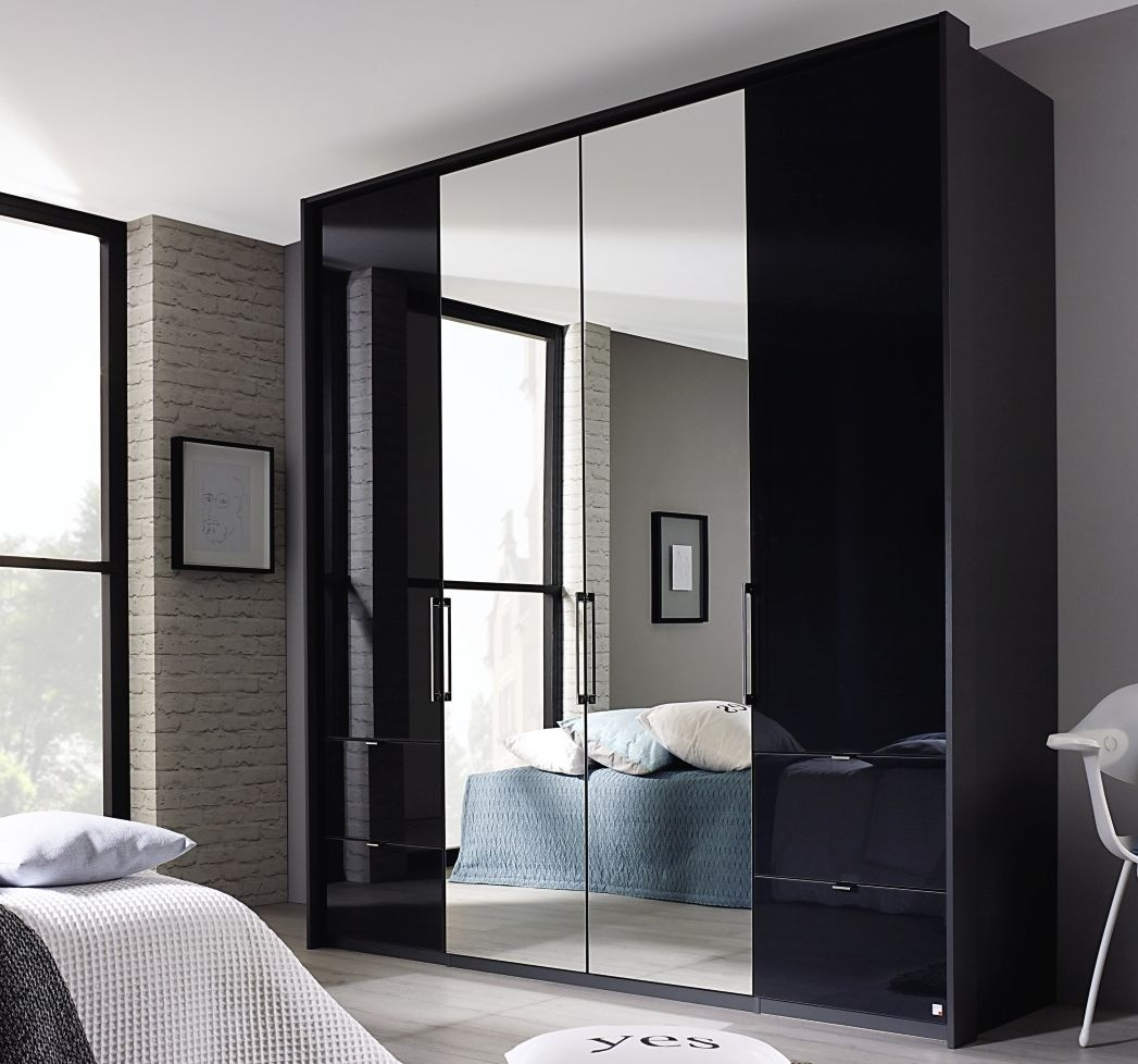 Rauch Erimo 4 Door 4 Small Drawer Glass Combi Wardrobe with 2 Mirror in Graphite and Basalt - W 207cm